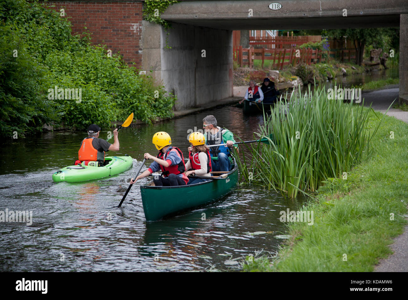 Boating on a UK canal, Welsh borders - Stock Image