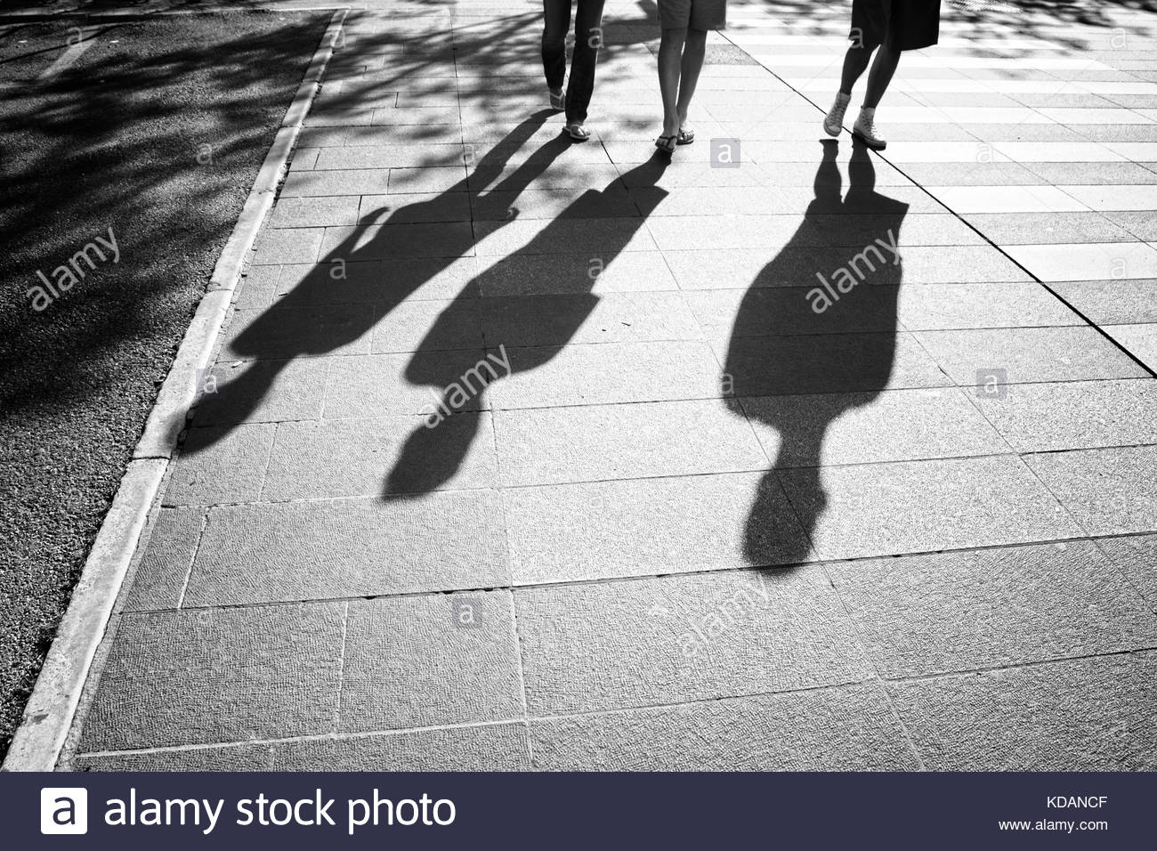 People shadows walking on city street on hot summer sunny day. People walking down the street. Monochrome black - Stock Image