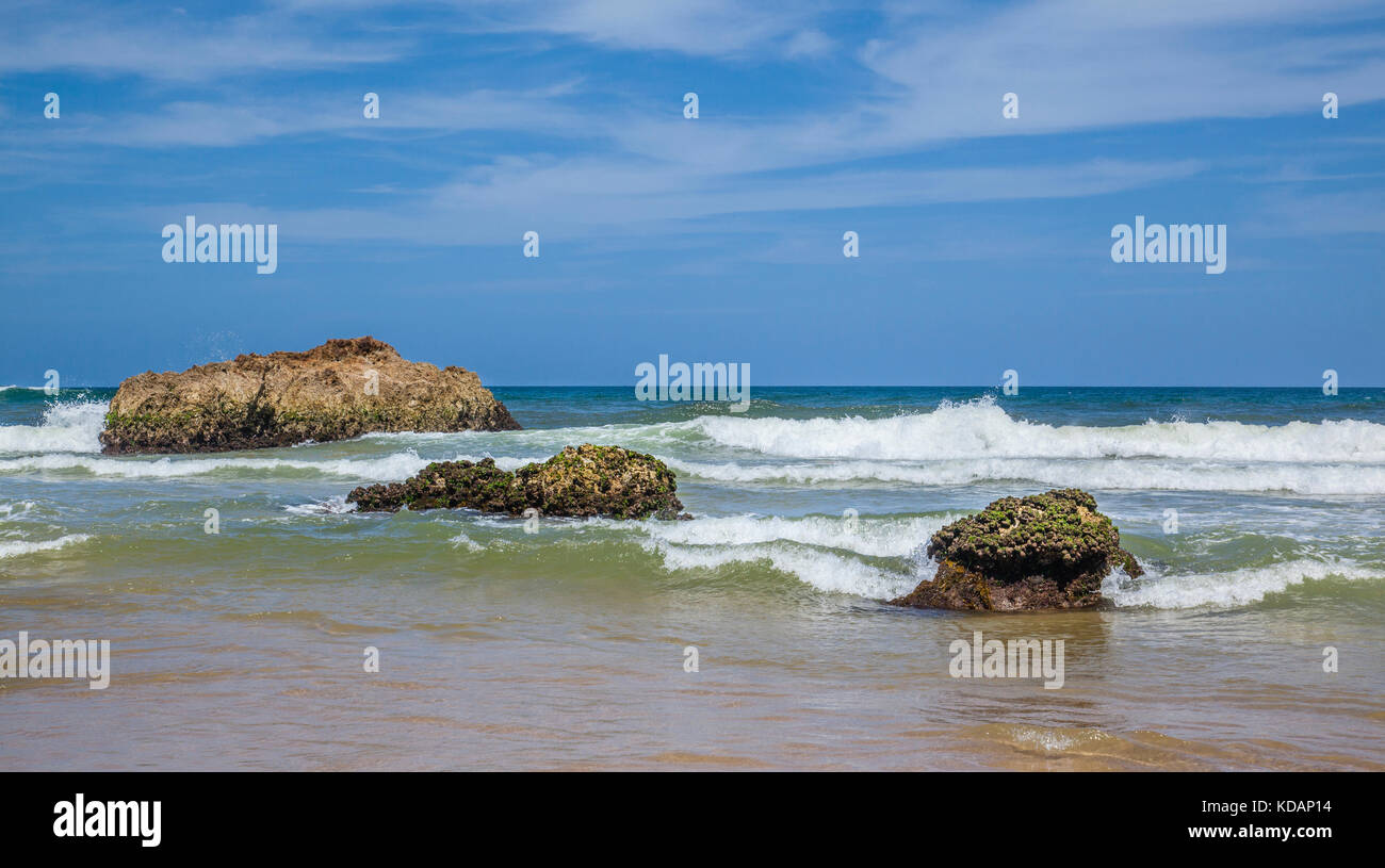 Australia, New South Wales, Mid North Coast, Watongs Rocks at Lighthouse Beach - Stock Image