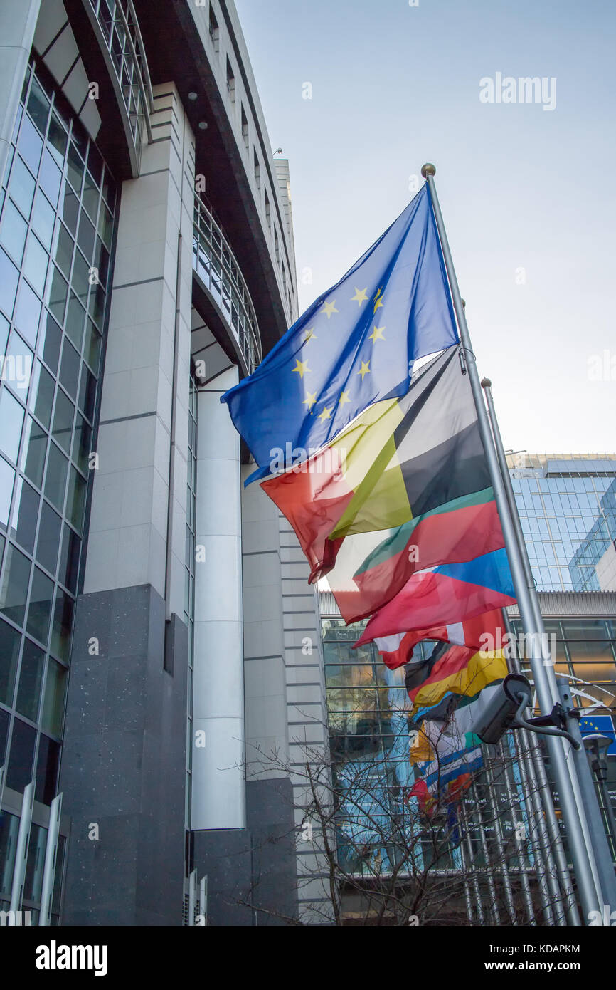 Flags with European Parliament - Stock Image