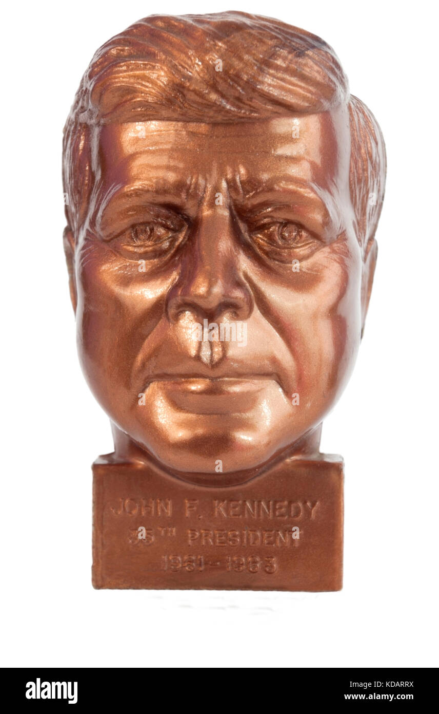 Tacky commemorative President Kennedy pencil sharpener. - Stock Image