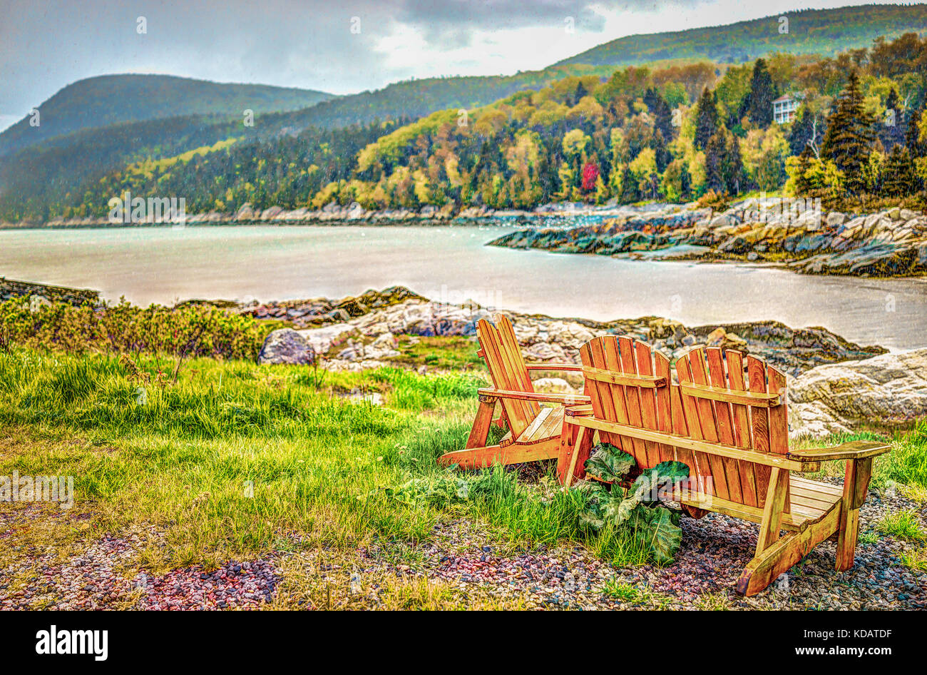 Port-au-Persil beach in Quebec, Canada Charlevoix region during stormy rainy day with Saint Lawrence river and wooden - Stock Image