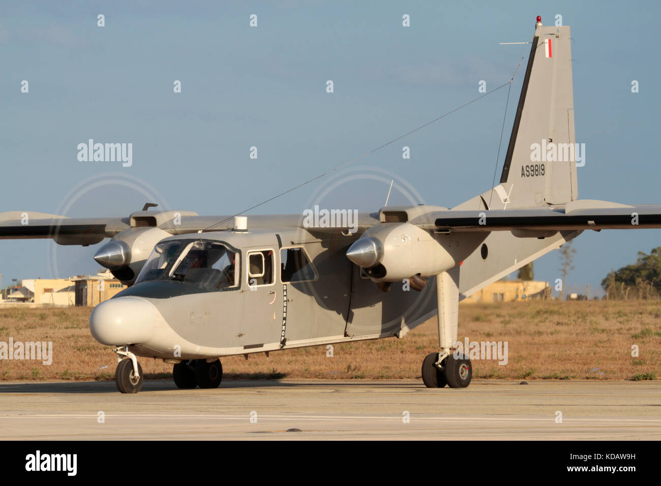 Britten-Norman Islander twin-engined maritime patrol aircraft of the Armed Forces of Malta starting up - Stock Image
