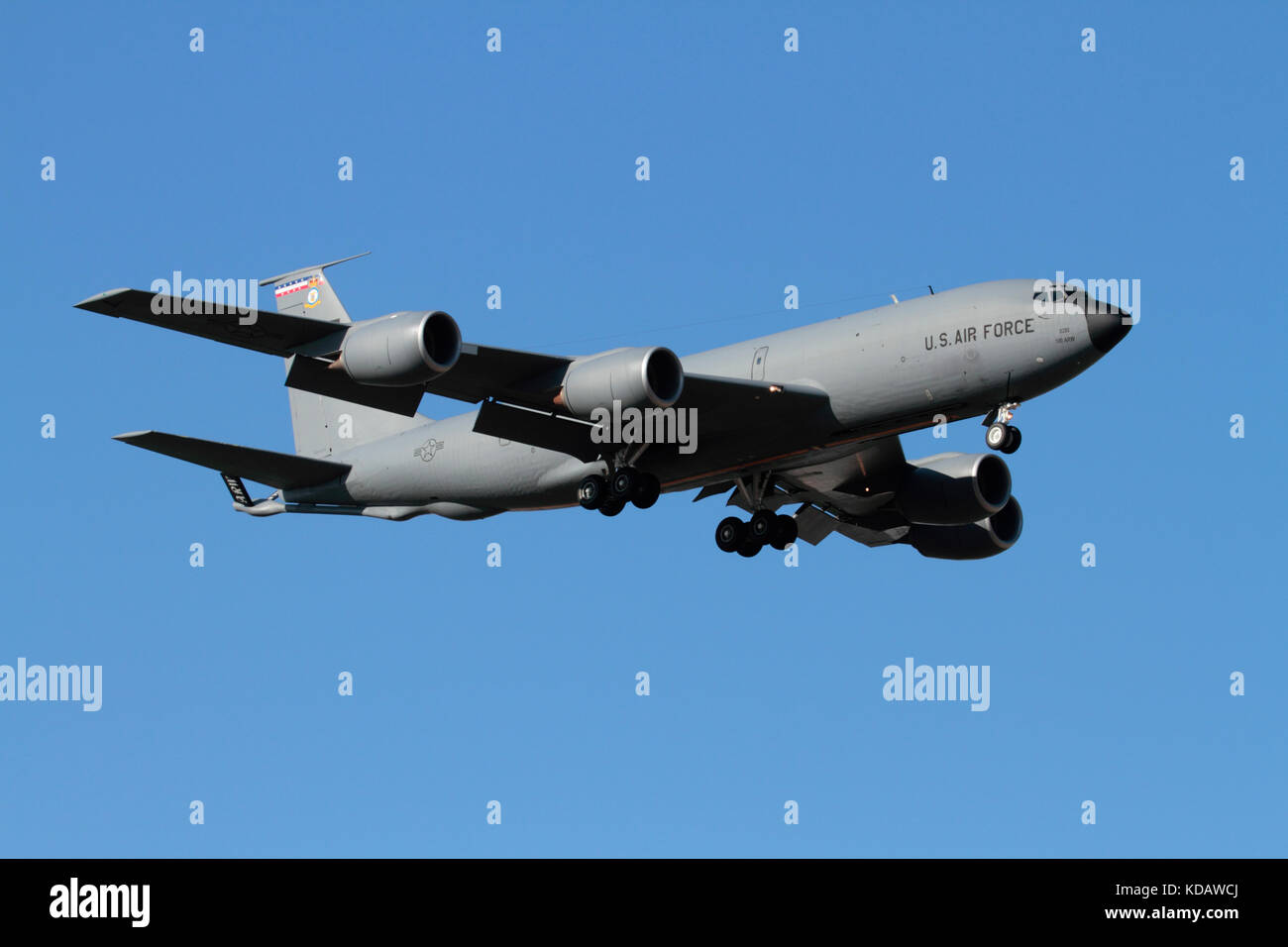 US Air Force KC-135 Stratotanker aerial refuelling aircraft on approach Stock Photo
