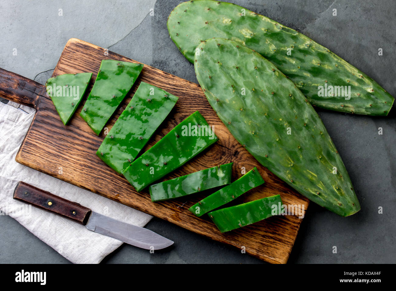 Leave of cactus nopales. Mexican food and drink ingredient - Stock Image
