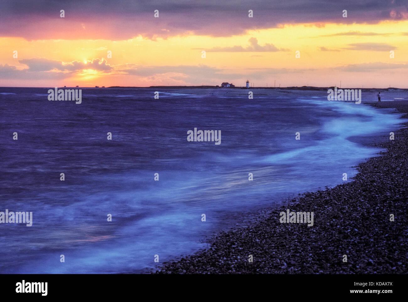 Race Point Lighthouse, Herring Cove Beach, Provincetown, Cape Cod National Seashore, Massachusetts - Stock Image