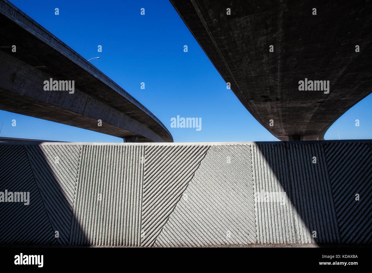 Under the 105 freeway next to Los Angeles River, Long Beach, California, USA - Stock Image