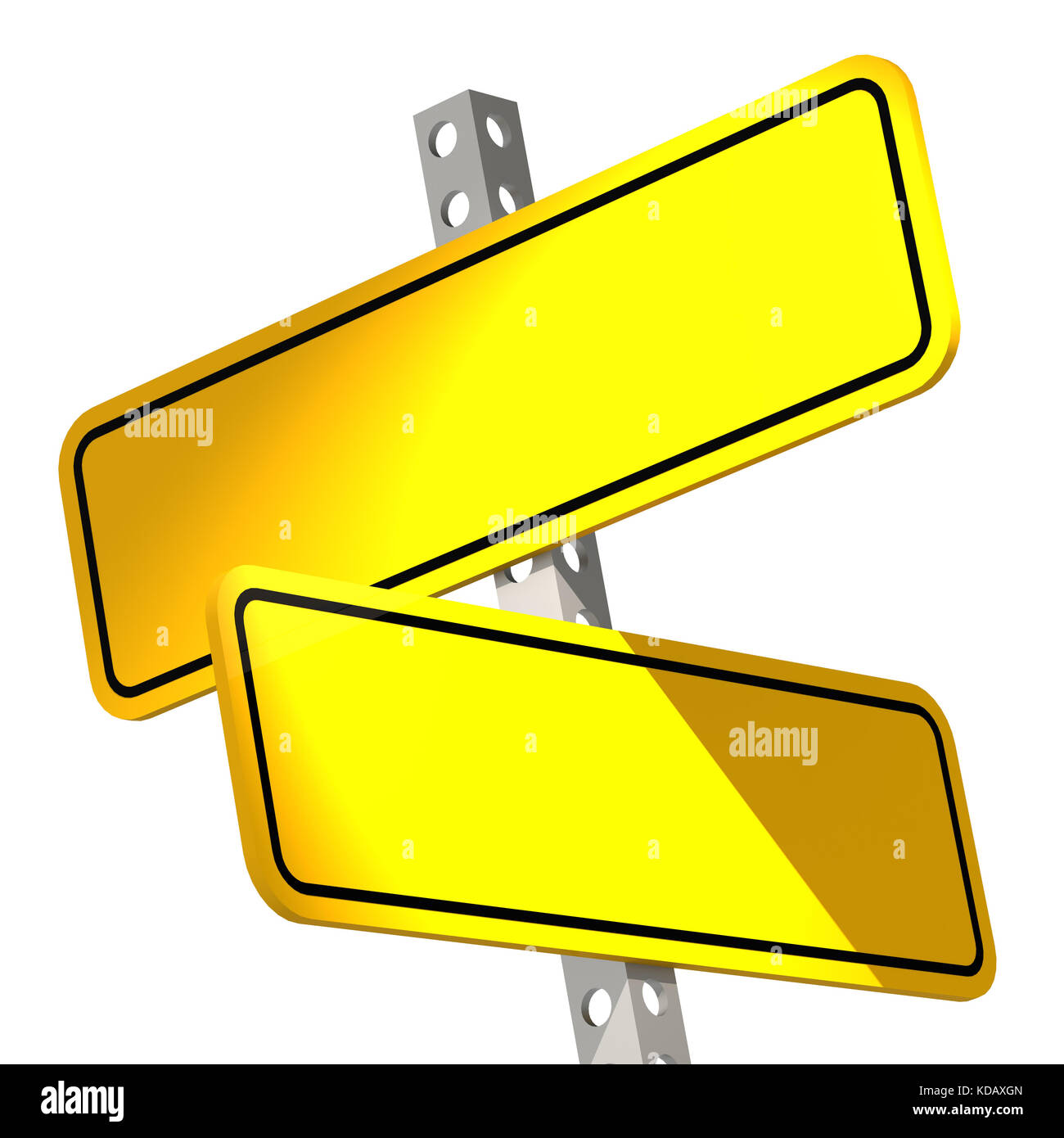 Yellow two road sign isolated image with hi-res rendered artwork that could be used for any graphic design. - Stock Image