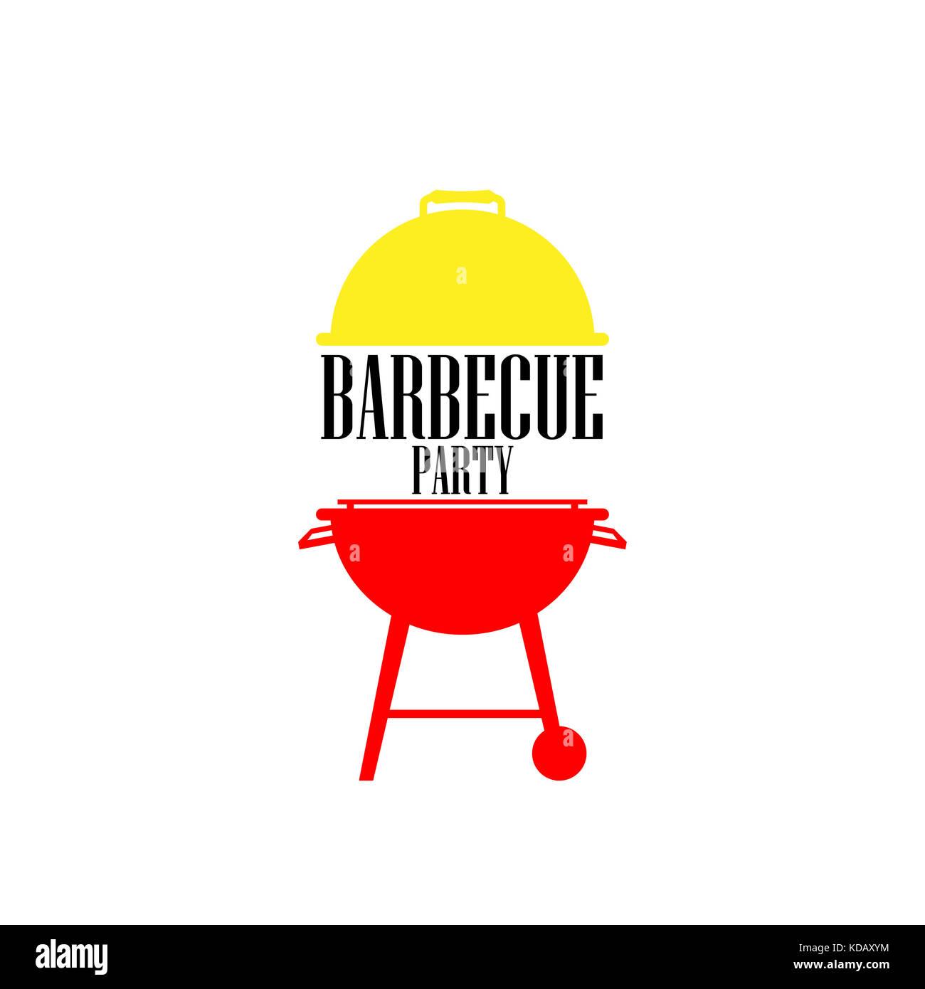 barbecue icon vector , barbecue party symbol - Stock Image
