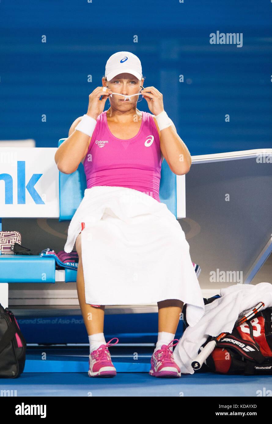 Samantha Strosur (AUS) battled A. Ivanovic (SRB) in day 5 of the Australian Open Women's Singles. Ivanovic won - Stock Image