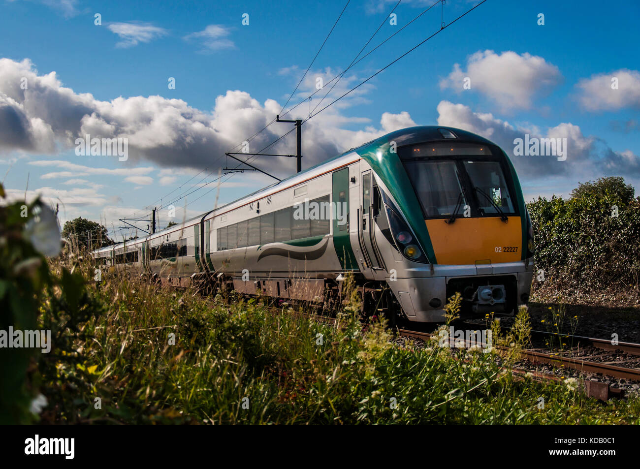 Intercity train on the move. Ireland. - Stock Image