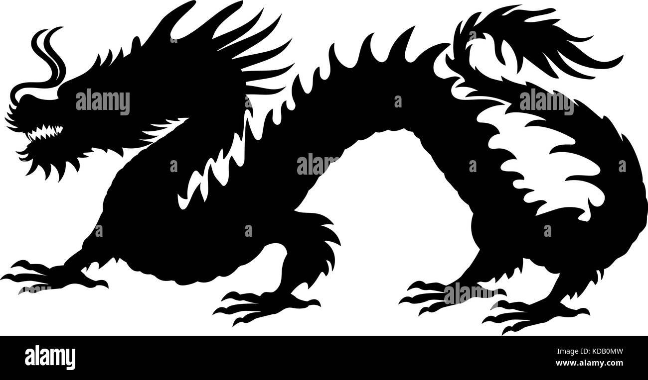 Chinese Dragon Silhouette Symbol Traditional China Vector Stock