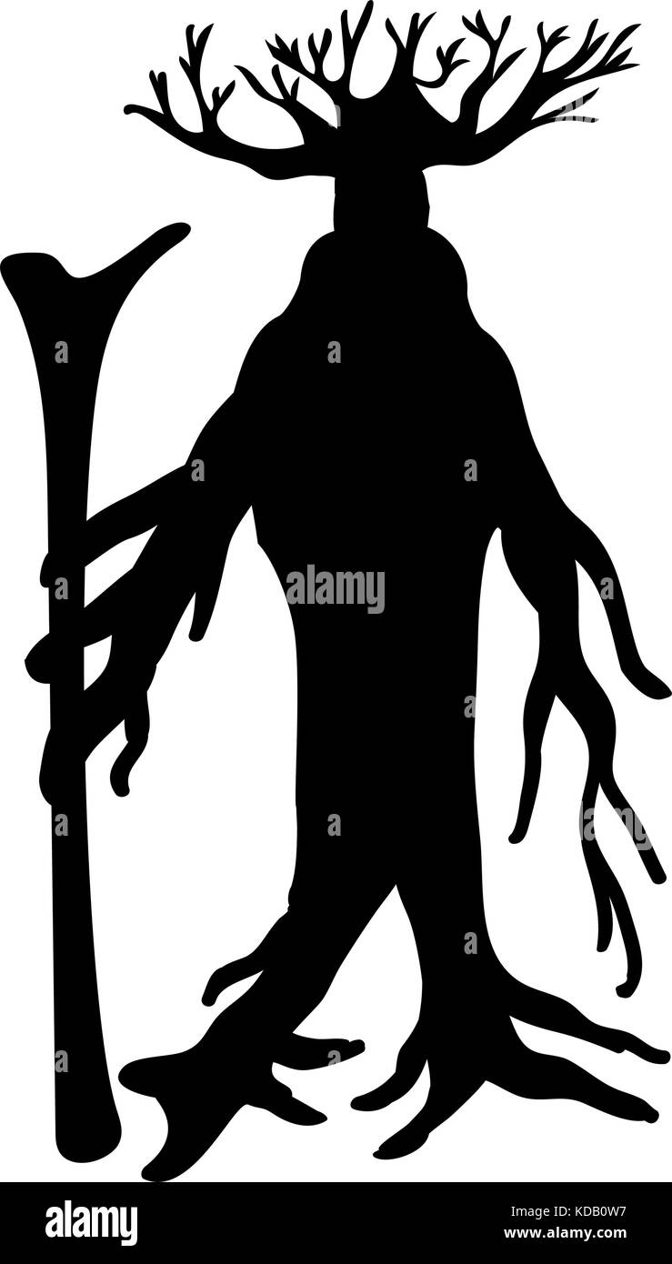 Ent tree silhouette ancient legend fantasy.  Vector illustration. - Stock Image
