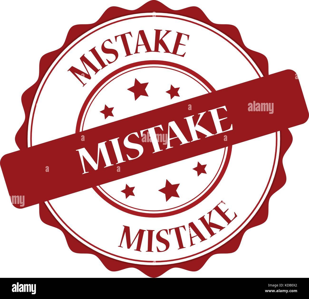 mistake red stamp illustration - Stock Image