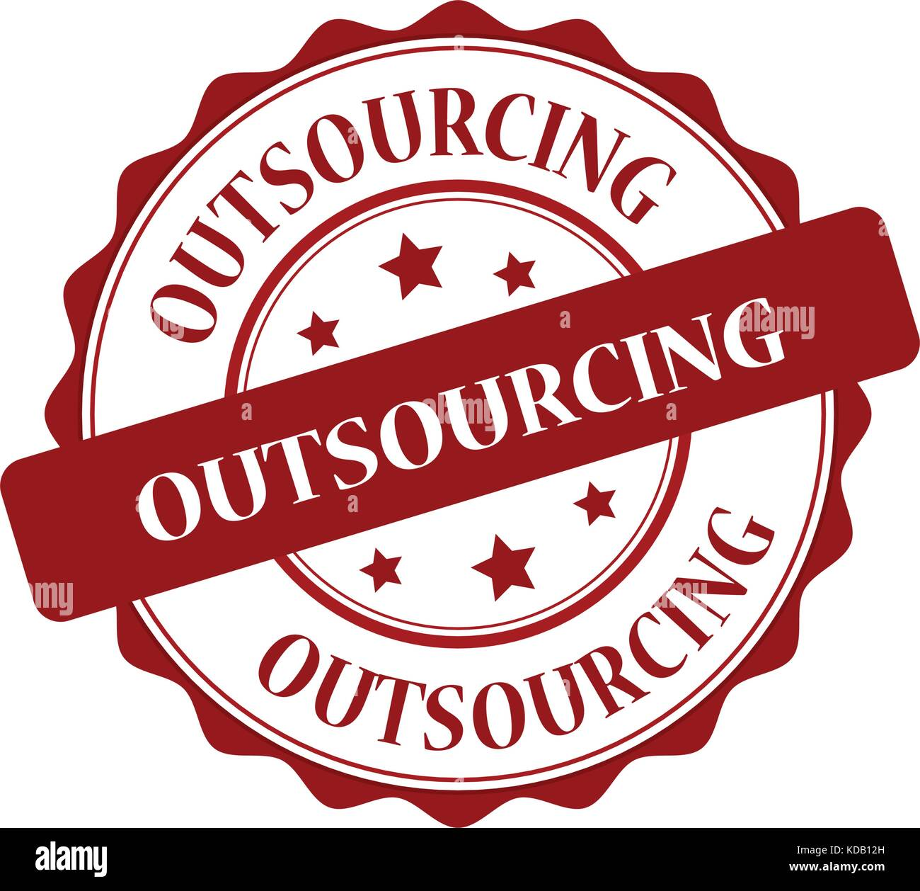 Outsourcing red stamp illustration - Stock Image