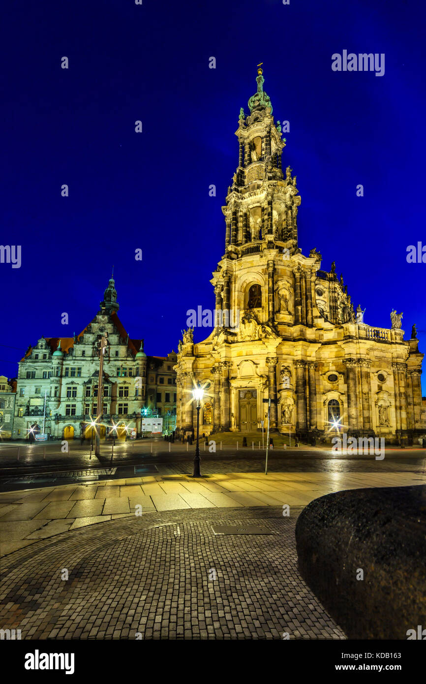 "The Kreuzkirche ""Church of the Holy Cross"" in Dresden, of the Evangelical Church in Germany Stock Photo"