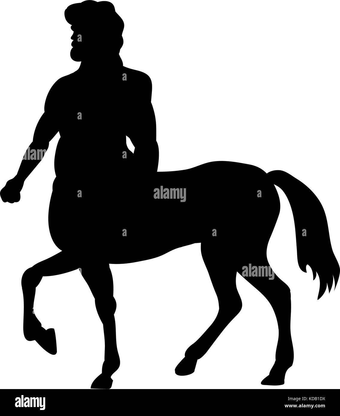 Centaur silhouette ancient mythology fantasy. Vector illustration. - Stock Vector
