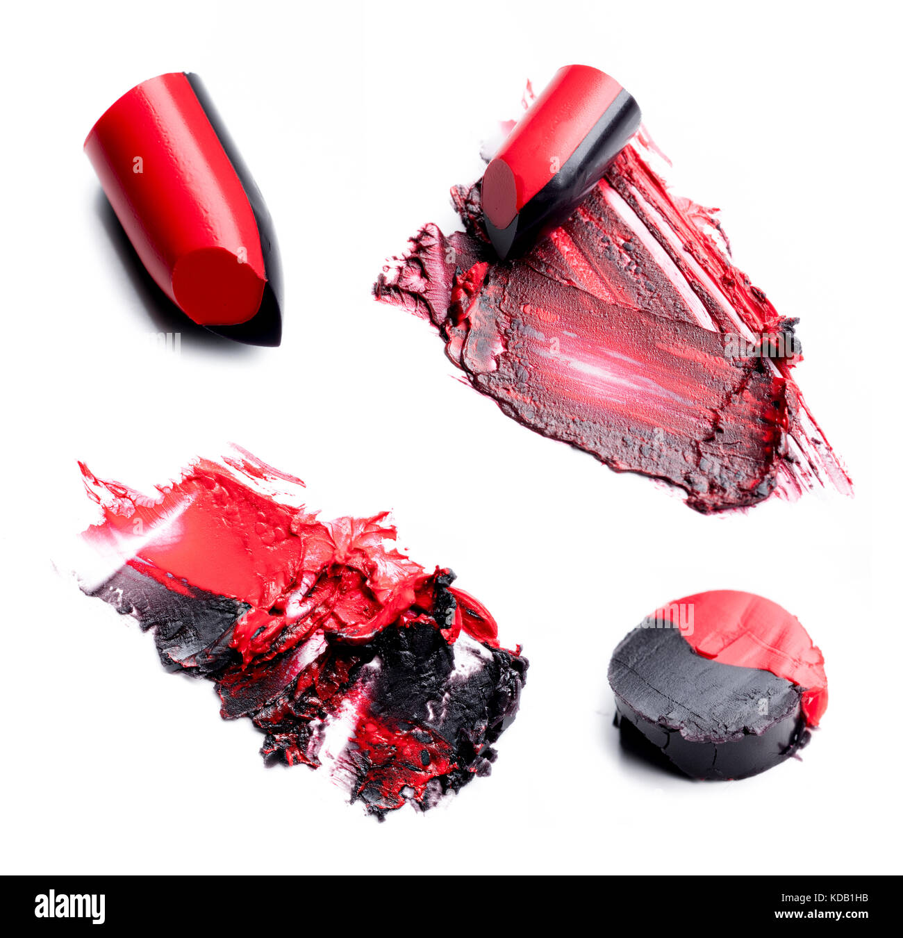 Collection of two tones crushed lipstick on a white background - Stock Image
