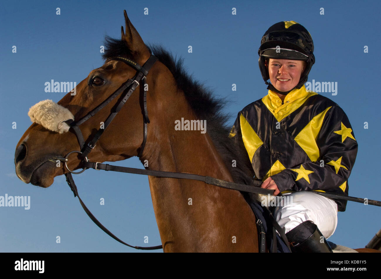 Jockey Jess Westwood with her horse 'Monkerty Tunkerty'. - Stock Image