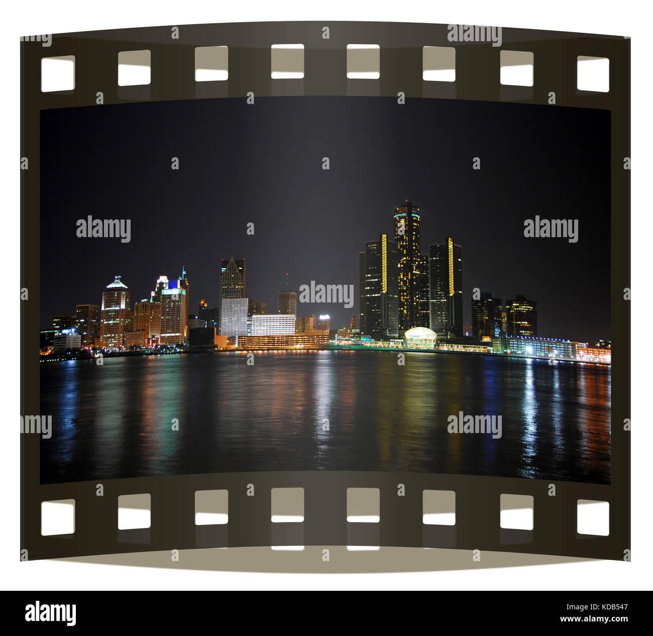 City skyline on photo slide - Stock Image