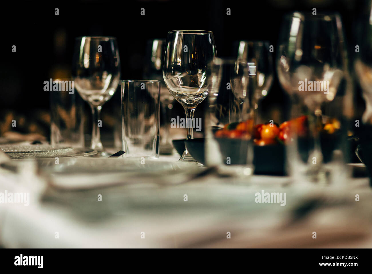 Luxury table settings for fine dining with and glassware, beautiful ...