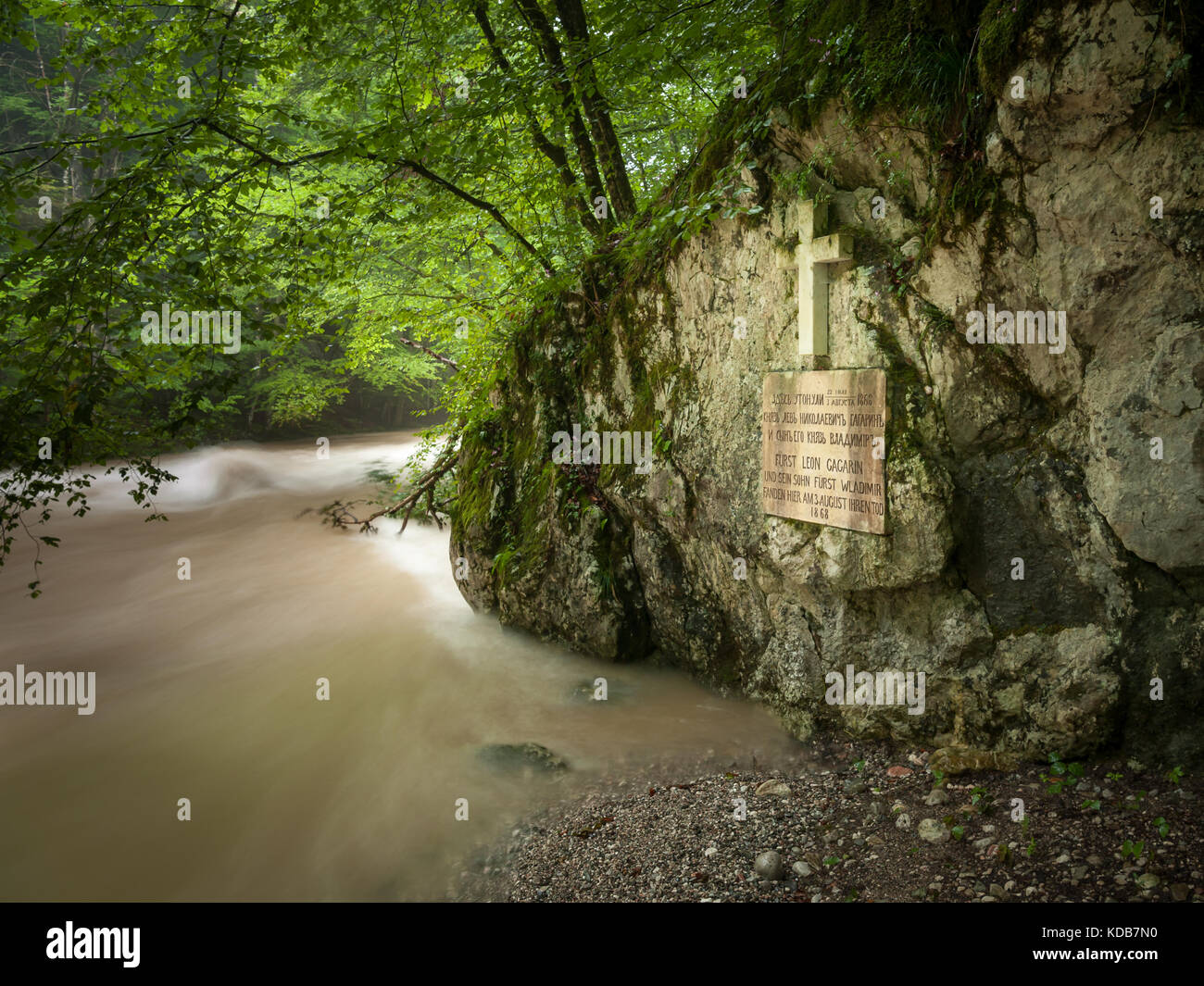 Memorial plaque of Leo Gagrin and his son Wladimir in Rettenbach-Klamm (Bad Ischl, Austria) - Stock Image
