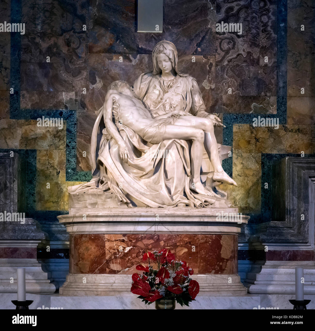 The Pieta by Michelangelo, St Peter's Basilica, Vatican City, Rome, Italy. - Stock Image