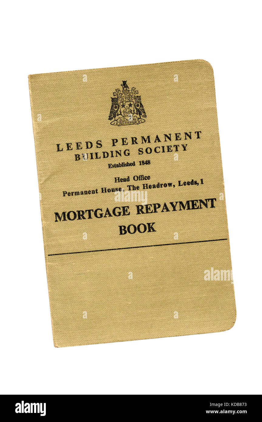 Building Society passbook. The Leeds Permanent Building Society. Mortgage Account. 1969-1979. - Stock Image