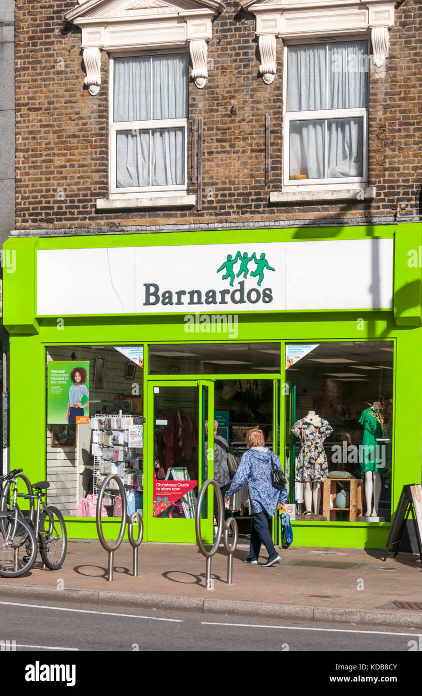 A Barnardos charity shop in Bromley High Street, South London. - Stock Image