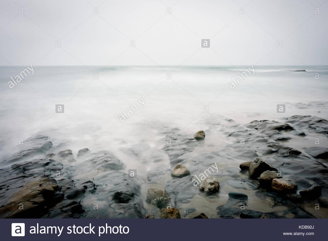 A long exposure of beautiful seascape in Santa Cruz county, California, USA. - Stock Image