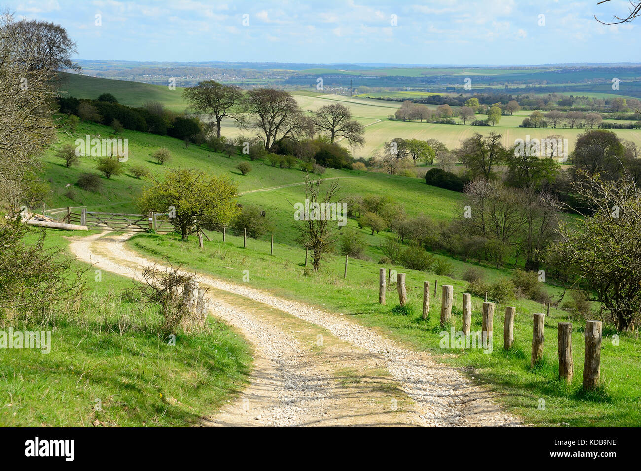 Winding rural track in the Chiltern Hills heading into Bedfordshire, England - Stock Image