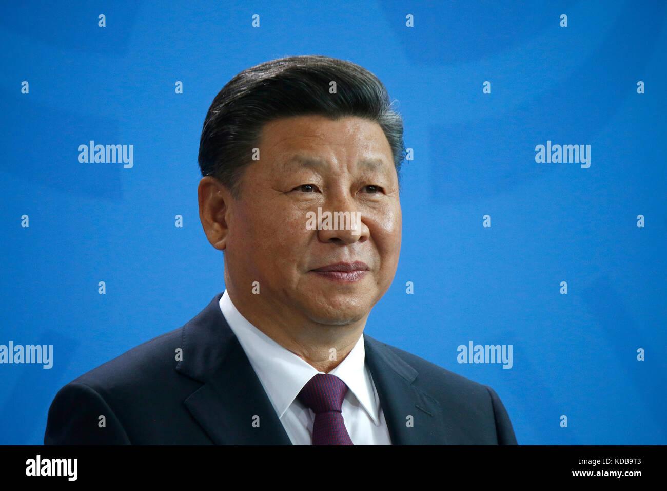 Xi Jinping - Treffen der dt. Bundeskanzlerin mit dem chinesischen Staatspraeisdenten, Bundeskanzleramt, 5. Juli - Stock Image