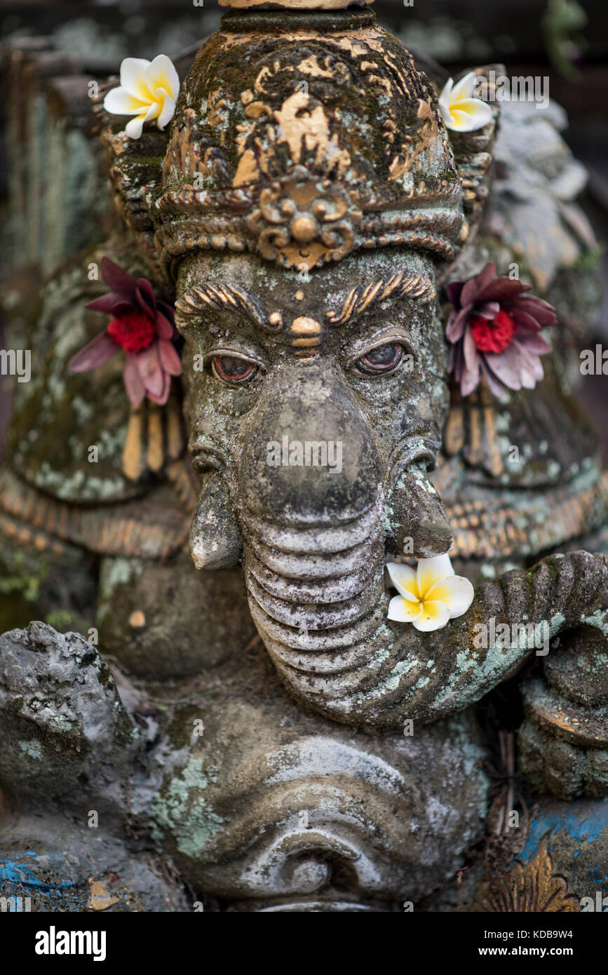 Hindu Gog Ganesha sculpt in stone, Ubud, Bali, Indonesia. - Stock Image