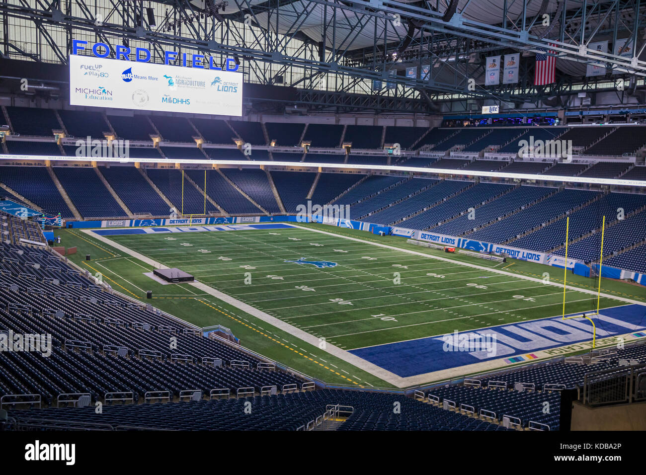 Detroit, Michigan - Ford Field, home of the Detroit Lions professional football team. - Stock Image