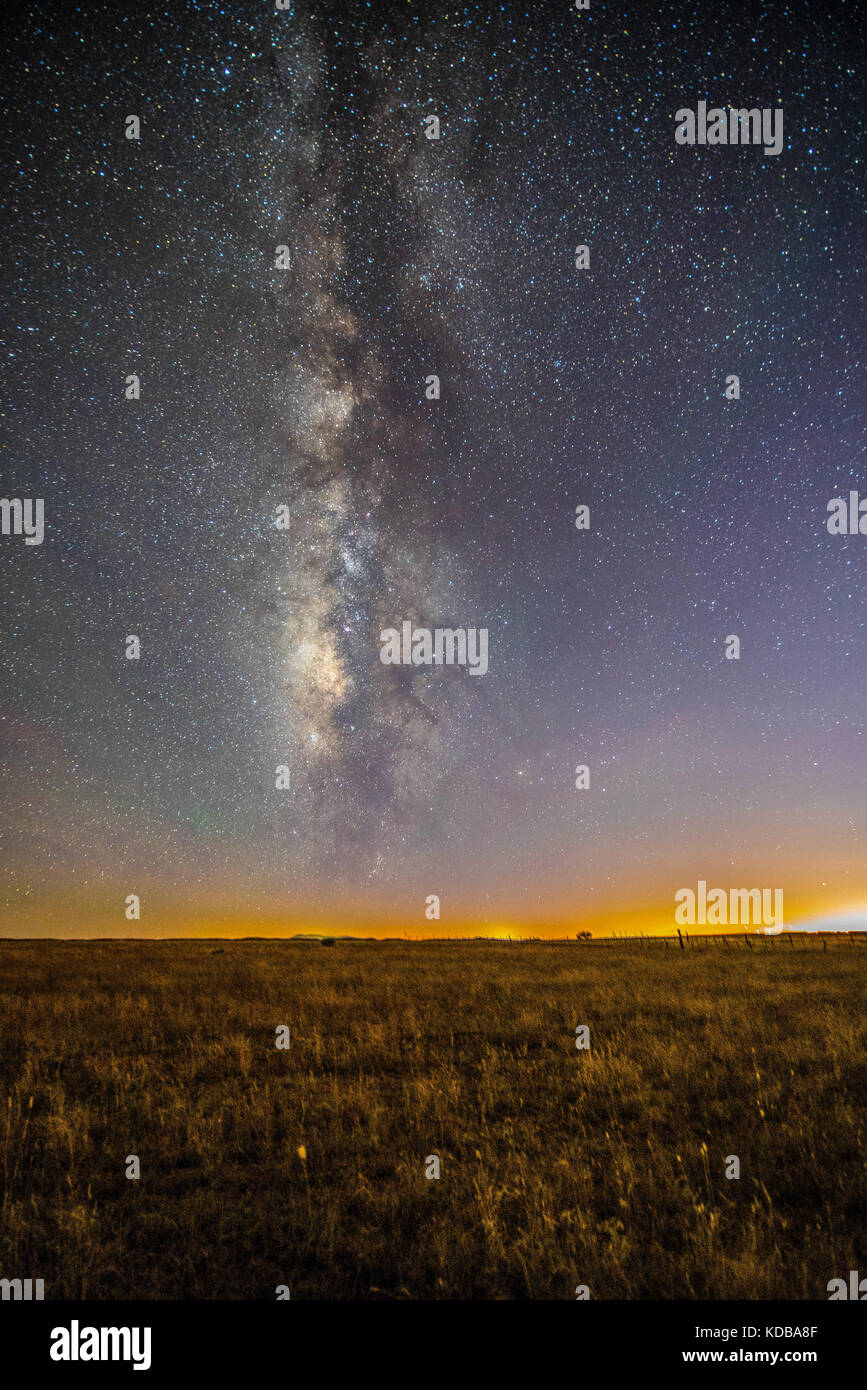 Milky Way. Stars in the sky. Night of celestial vault or constellations. landscape with stars in Cananea Sonora - Stock Image
