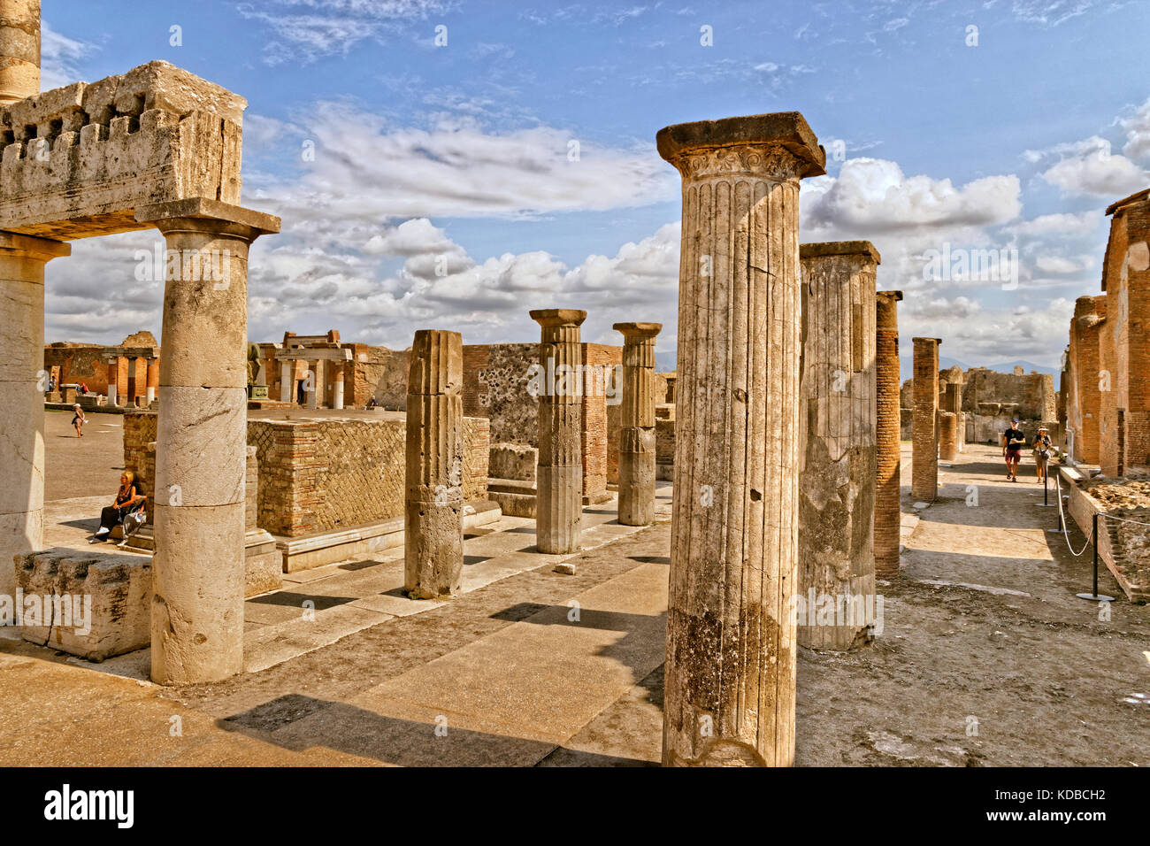 Columns at the Forum area in the ruined Roman city of Pompeii at Pompei Scavi near Naples, Stock Photo