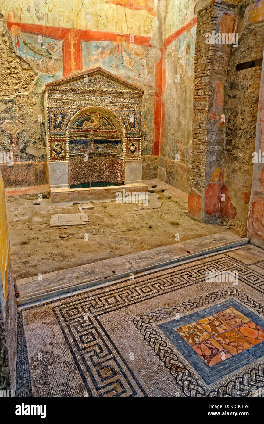 Interior detail of the Taberna Hedones at the ruined roman city of Pompeii at Pompei Scavi, near Naples, Southern - Stock Image