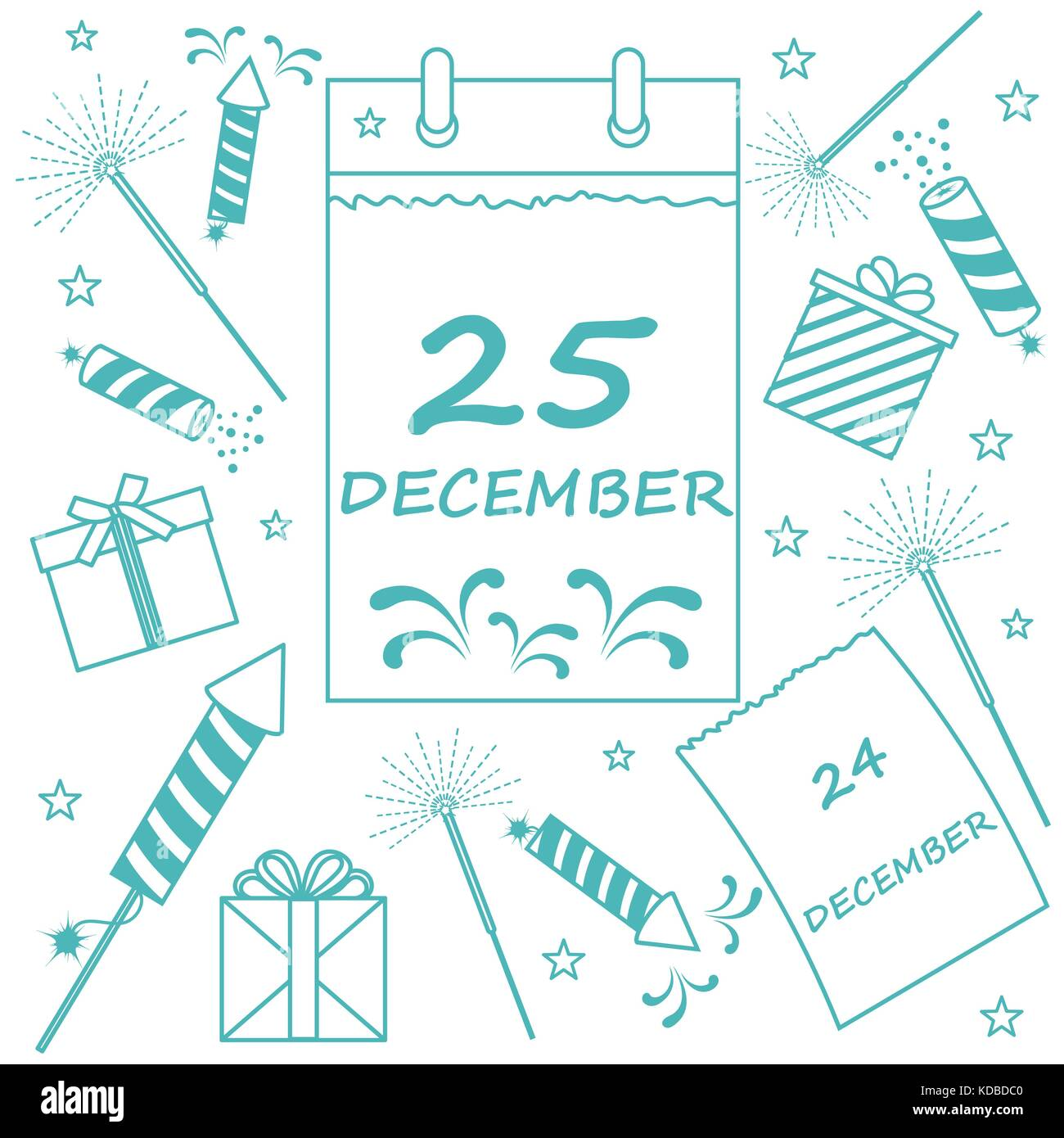 Vector illustration: calendar with christmas date page and gifts, sparklers, petards. Design for postcard, banner, - Stock Vector