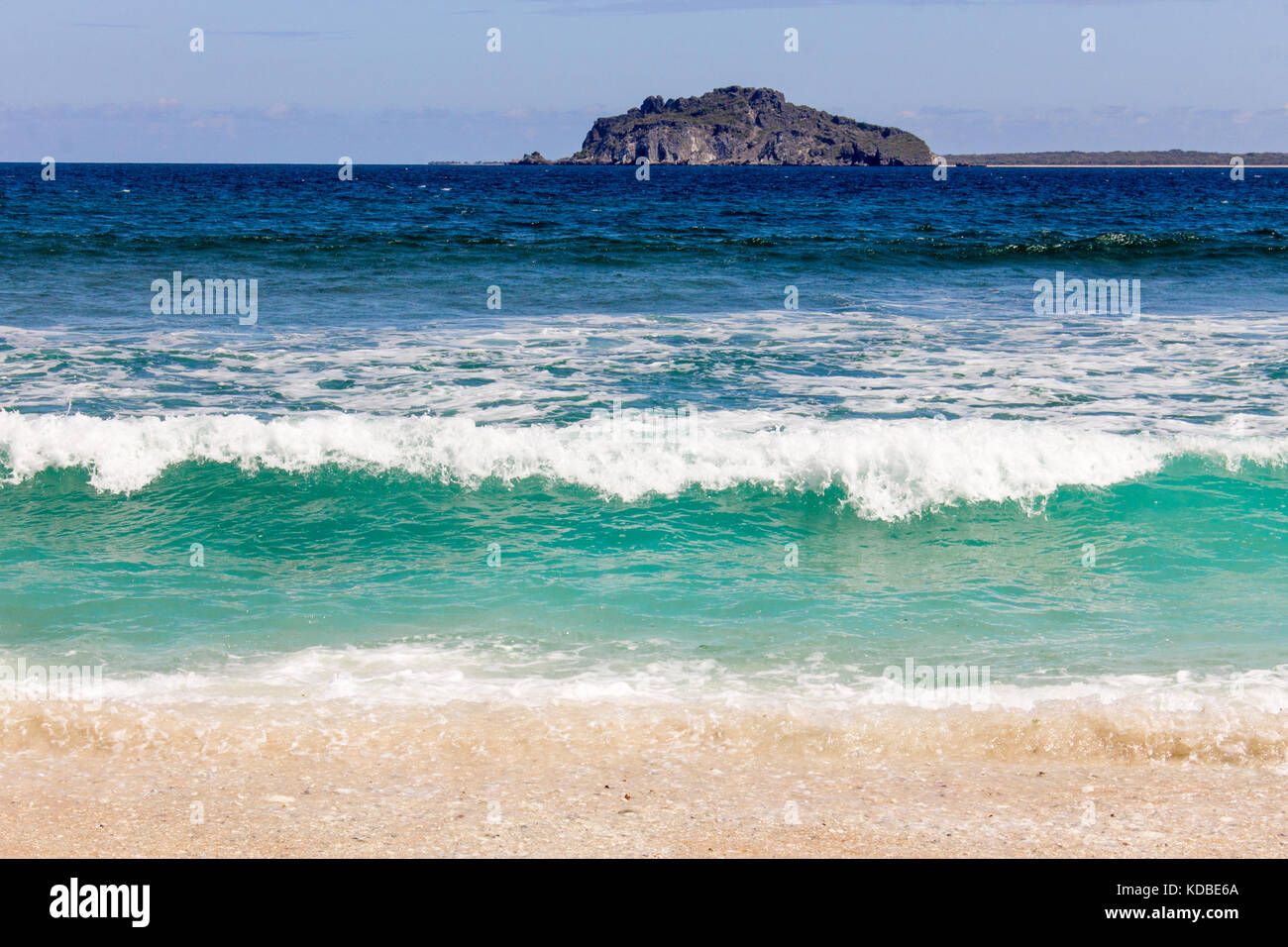 Summer wave on southern tropical island of Indonesia - Stock Image