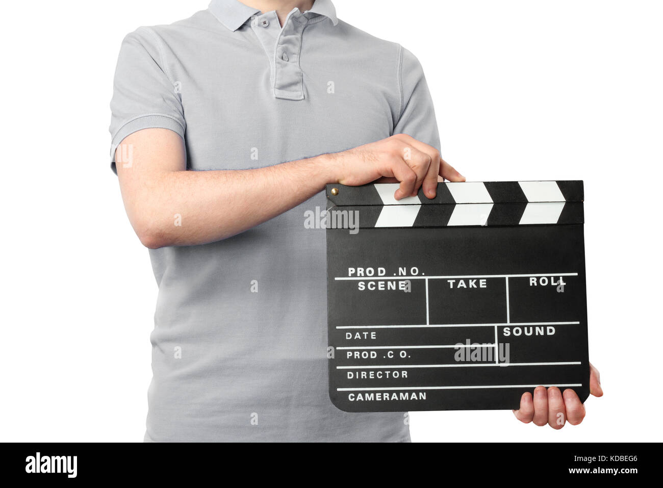Man holding clapper board in hands - Stock Image