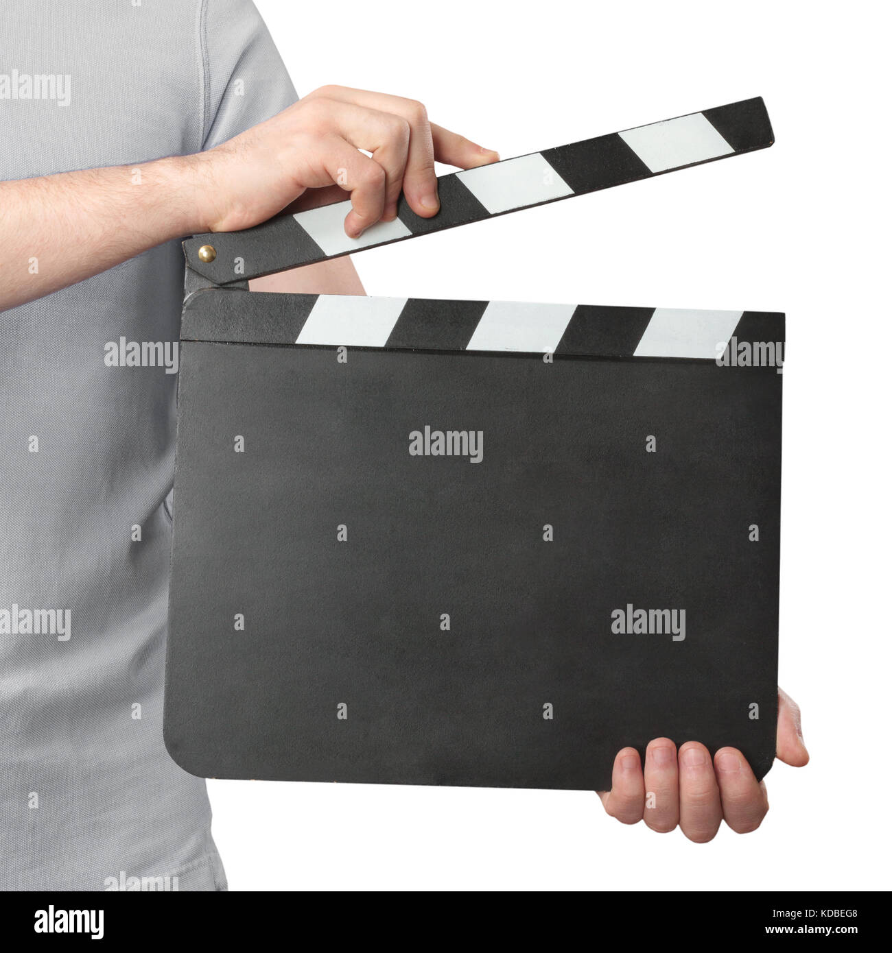 Hands holding clapper board isolated on white background - Stock Image