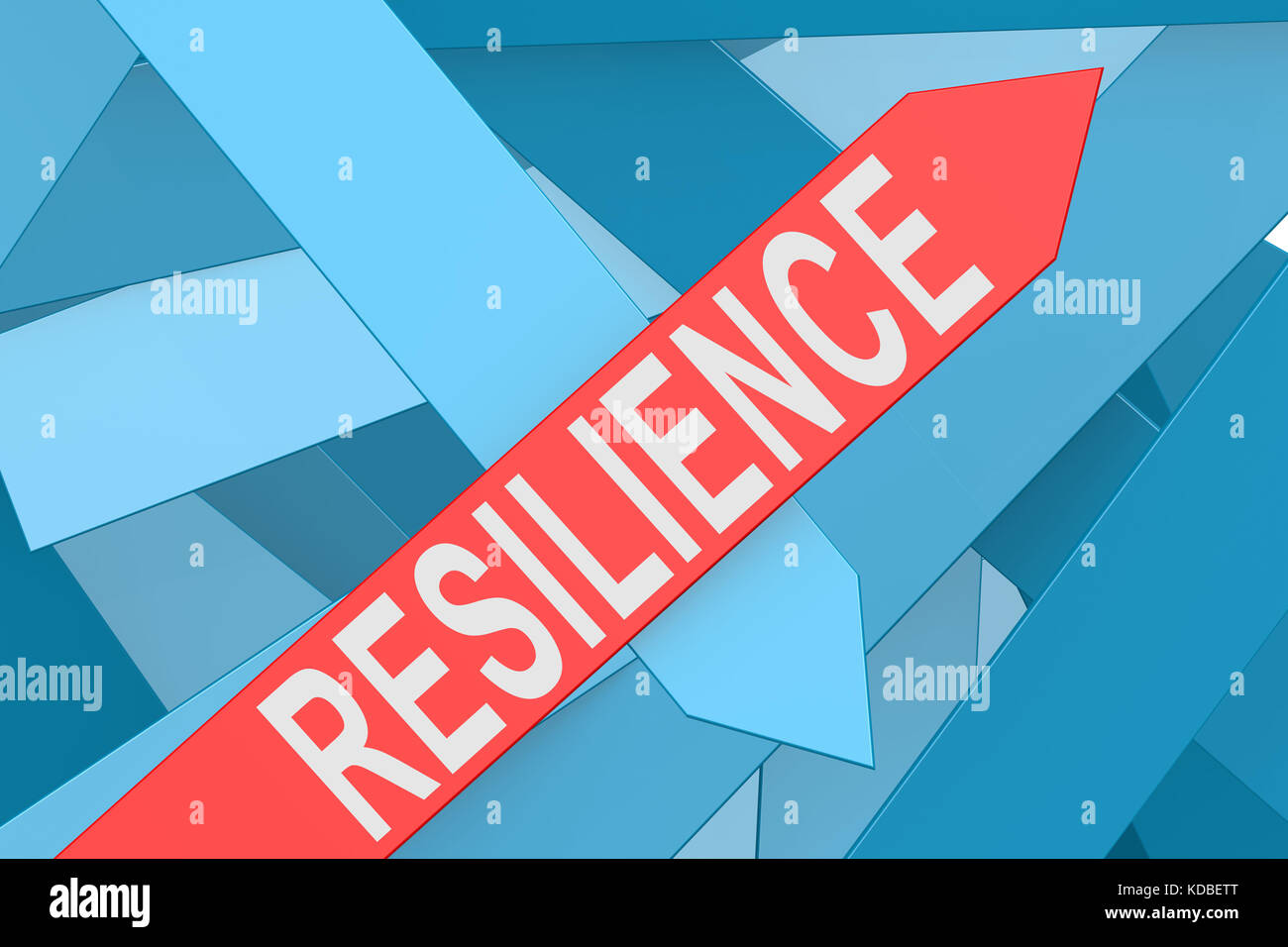 Resilience arrow pointing upward, 3d rendering - Stock Image