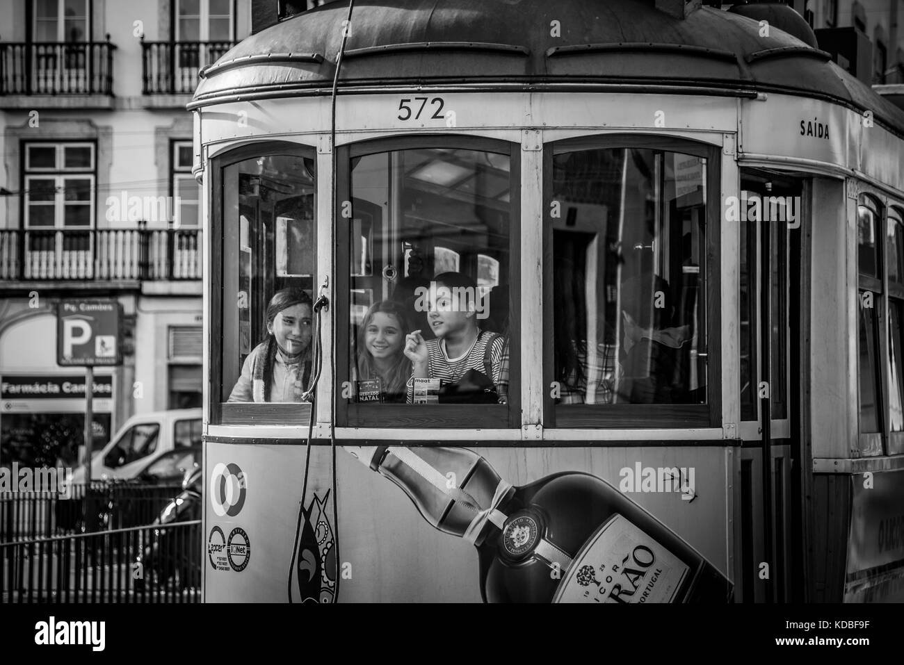 Tram 28 with children - Stock Image