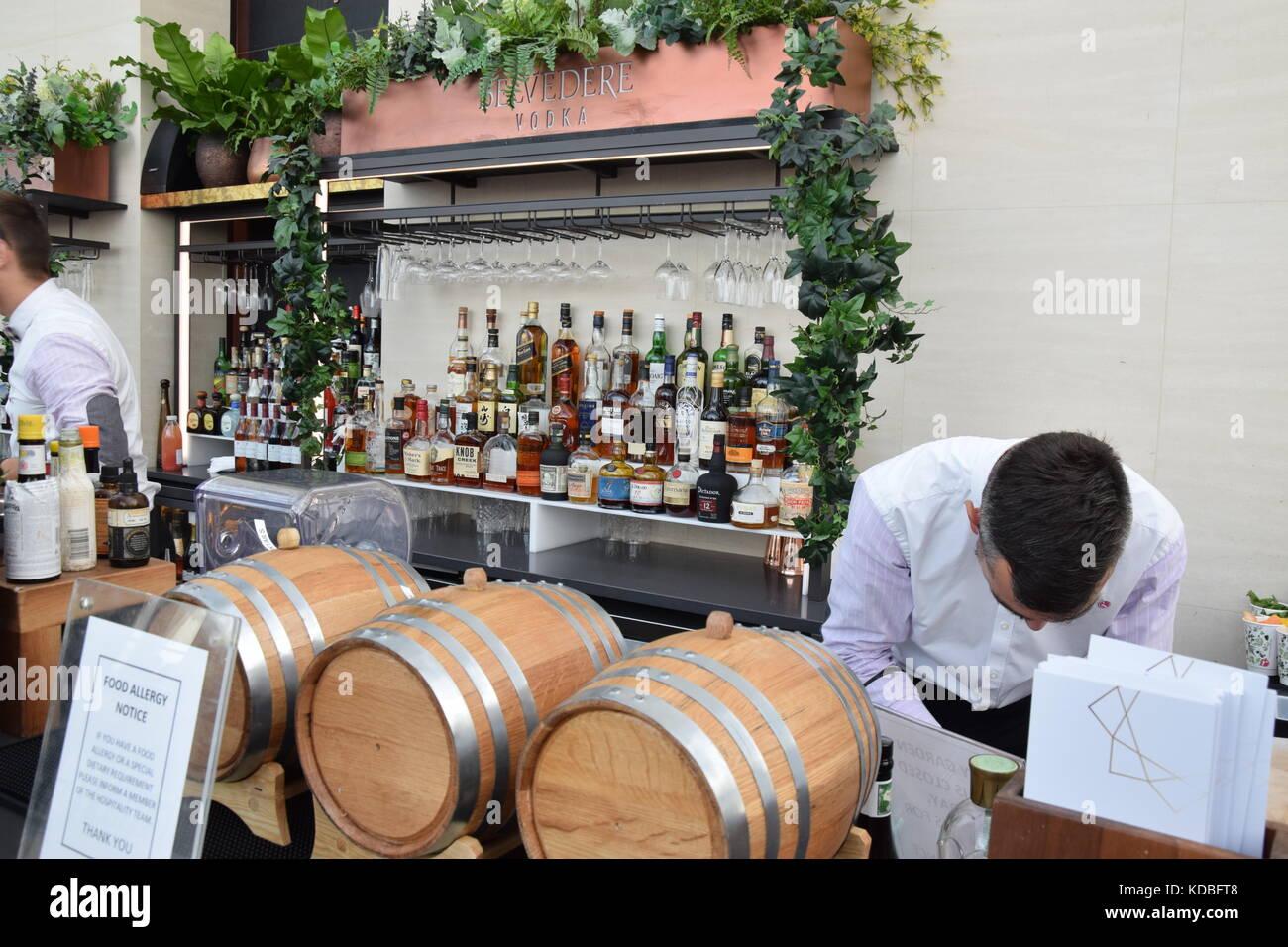 Bar Staff and Sky city Garden - Stock Image