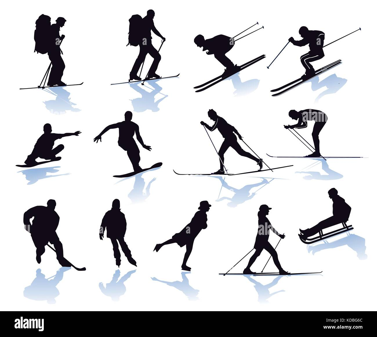 Winter sports, skier, snowboarder, skiing - Stock Image