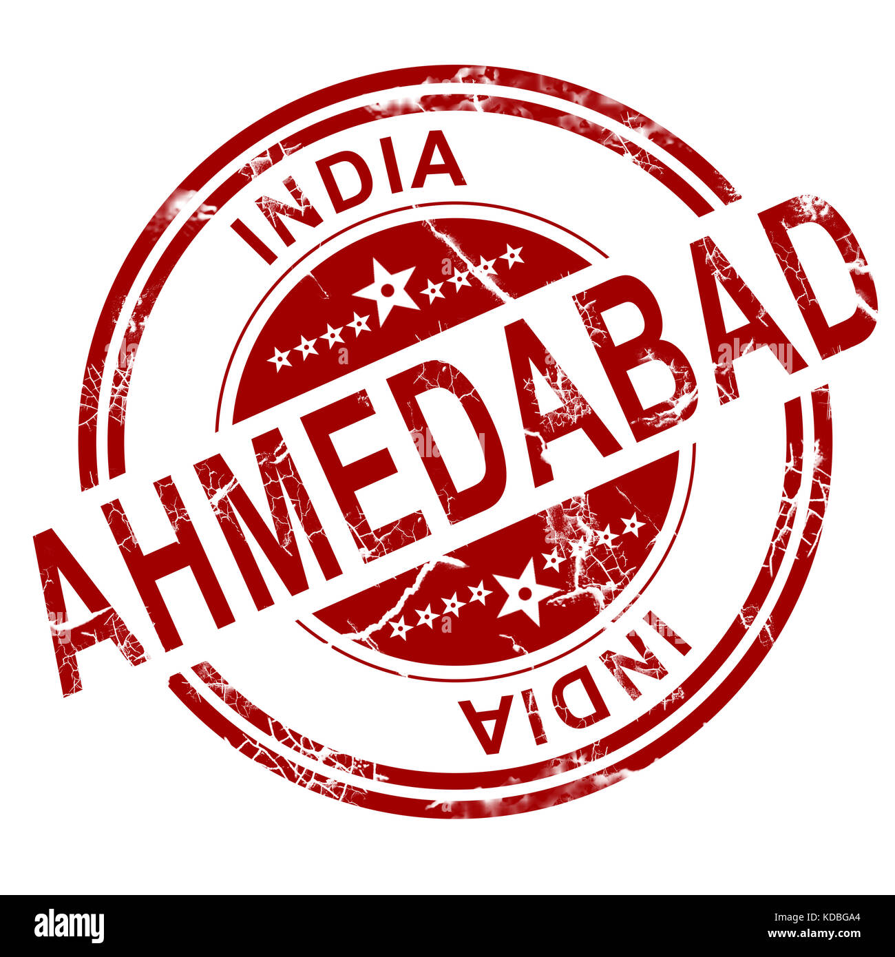 Red Ahmedabad stamp with white background, 3D rendering - Stock Image