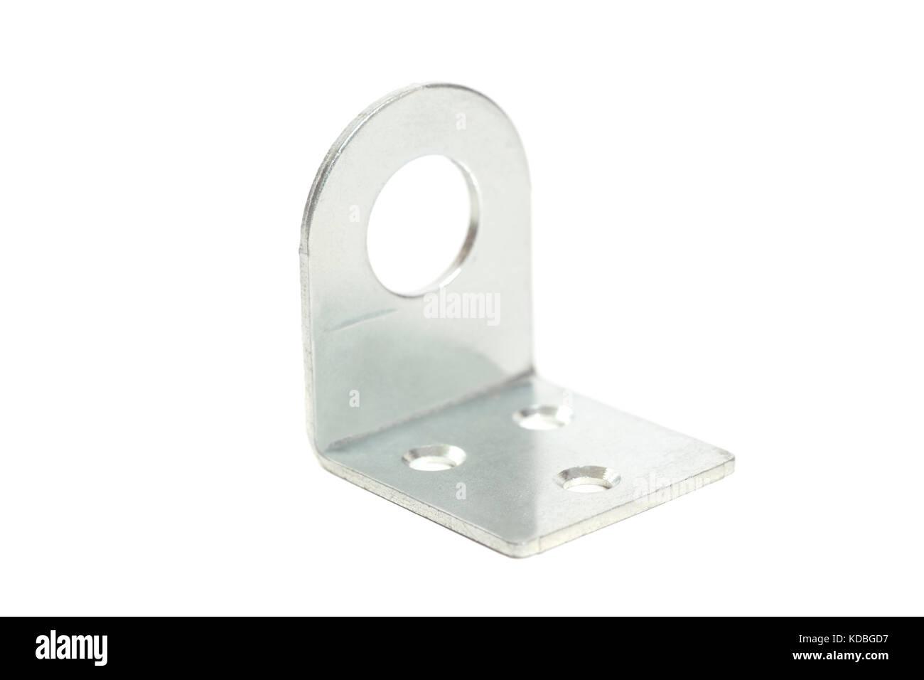 Metal corner bracket isolated on white background - Stock Image