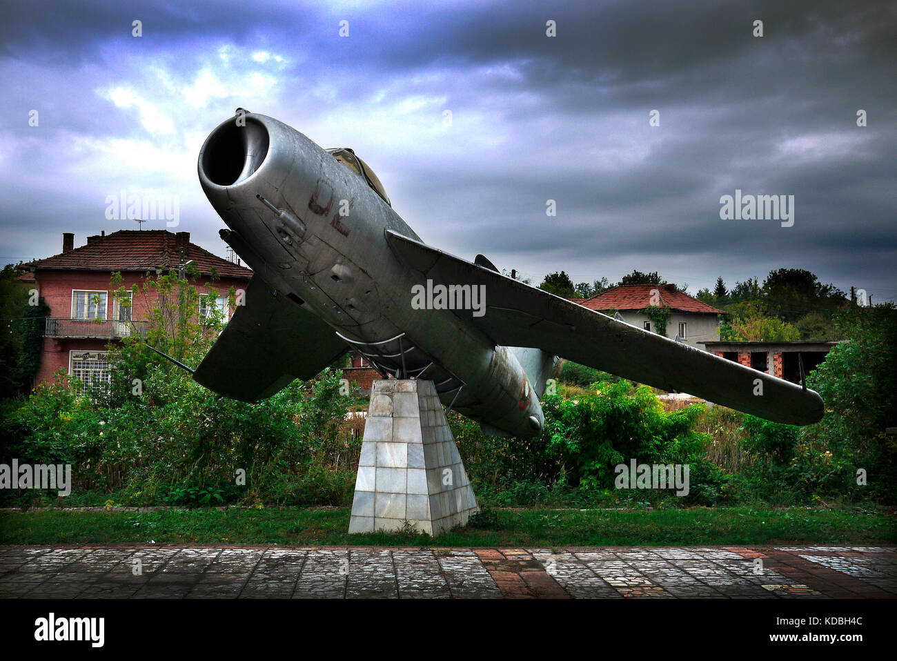 Mig fighter aircraft on display in village of Kamenets in the Pleven province of Bulgaria. - Stock Image