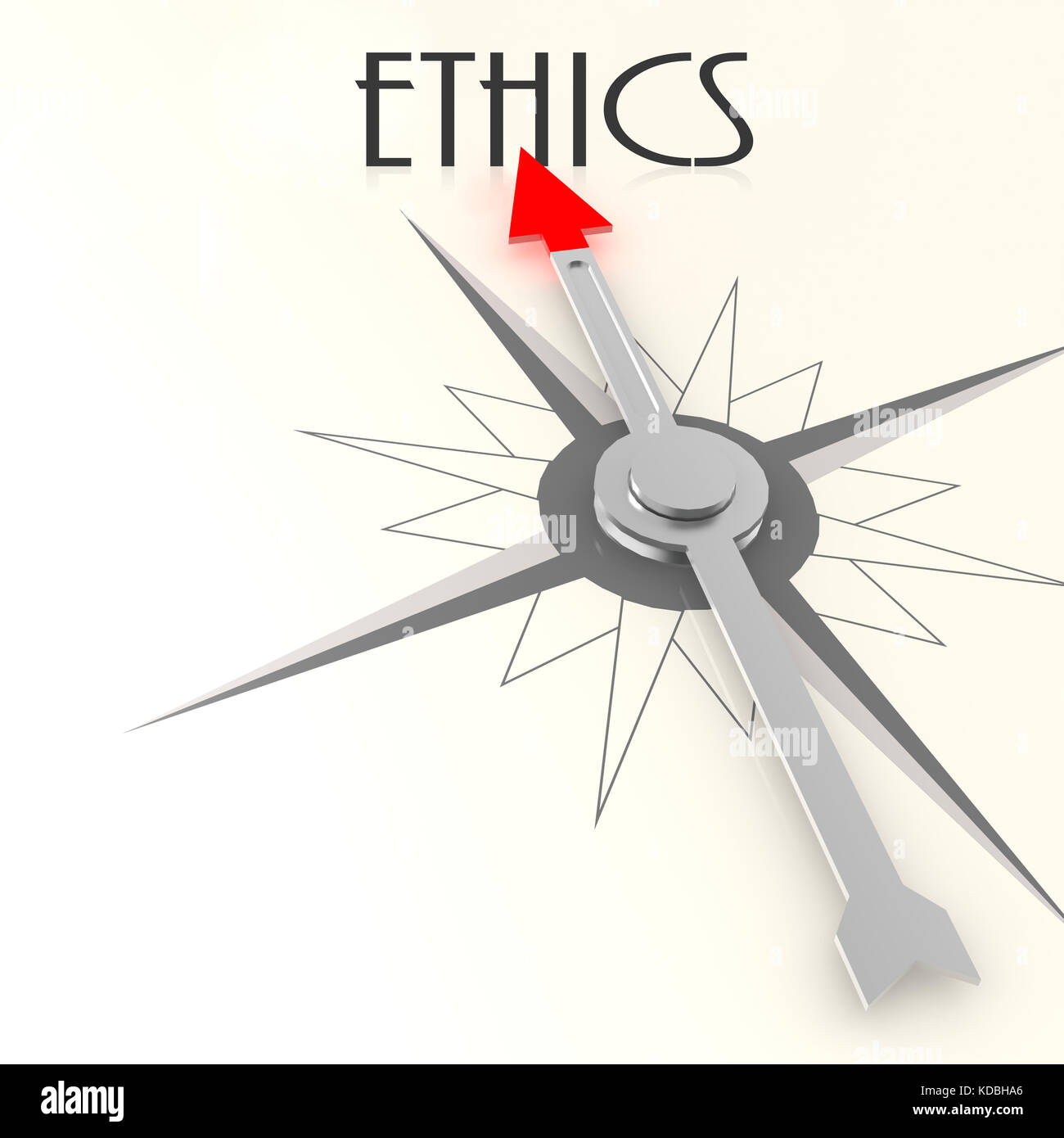 Compass with ethics word image with hi-res rendered artwork that could be used for any graphic design. - Stock Image