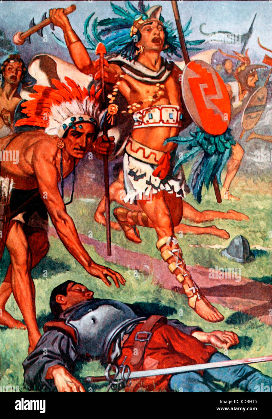 Again and again they returned to the attack - Scene from the Spanish Conquest of Mexico - Stock Image